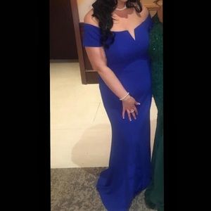 Calvin Klein off shoulder royal blue gown Size 14